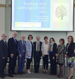 Guest of honour Mr Peter Weir (centre) pictured with the Teaching and Learning Schools (NI) Steering Group members, from the left: Paul Bell; Peter Campbell; Paul McClenaghan, Chairman TLS(NI); Victoria Hutchinson; Claire Howe; Mary McHenry; Carmel McCartan and Amanda McNamee.