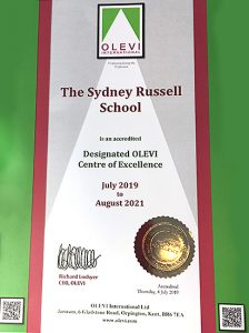 Designated OLEVI Centre accreditation certificate