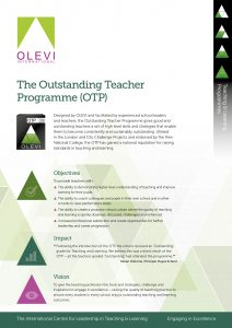 The Outstanding Teacher Programme flyer graphic